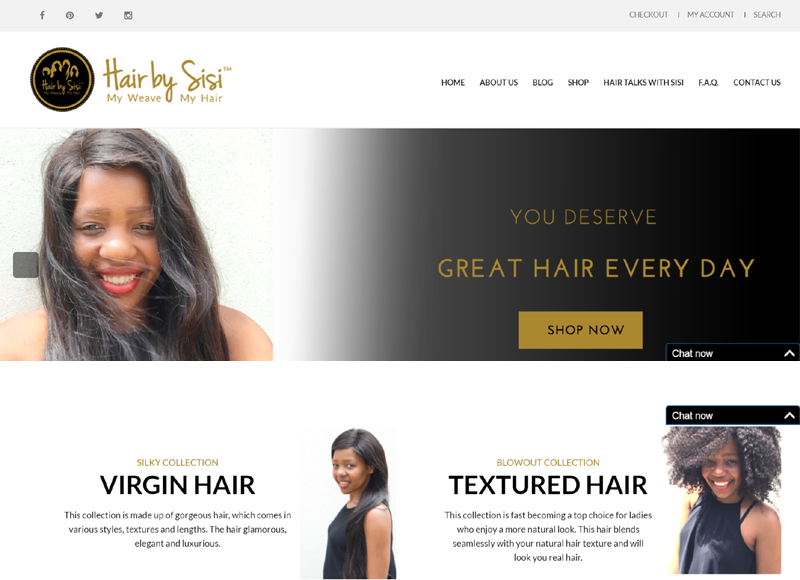 Screenshot of Hair by Sisi website. Website using WooCommerce. Online Store.