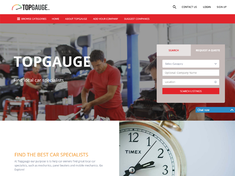 The homepage www.topgauge.co.za, an online directory for local car specialists
